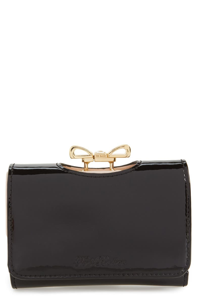 TED BAKER LONDON 'Crystal Bow - Small' Patent Leather Clutch Wallet, Main, color, 002
