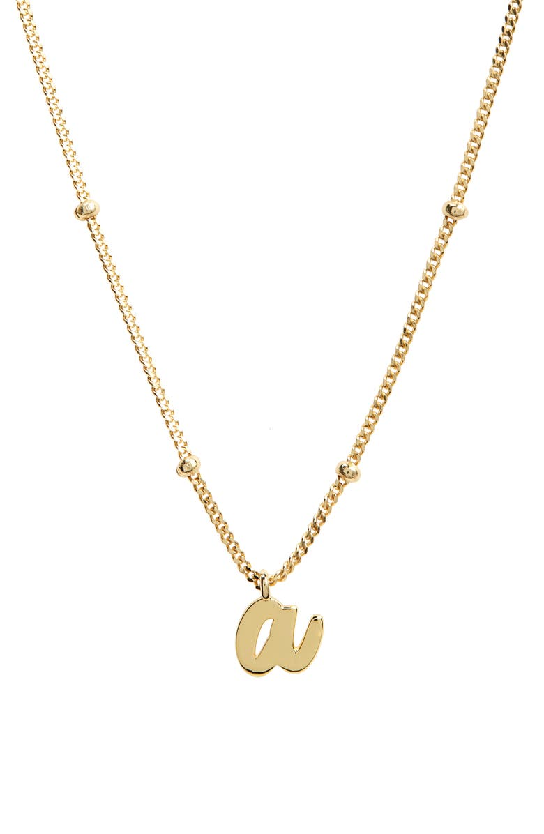 ARGENTO VIVO STERLING SILVER Script Initial Pendant Necklace, Main, color, GOLD A