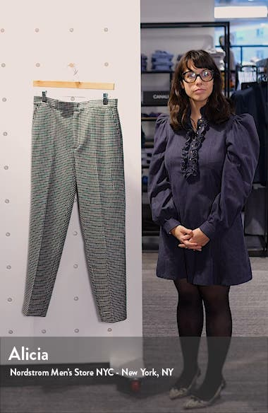 Houndstooth Check Wool Blend Trousers, sales video thumbnail