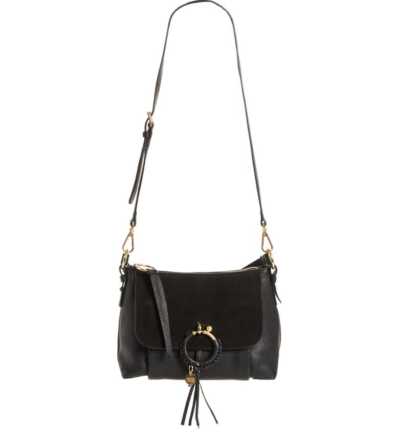 SEE BY CHLOÉ Small Joan Suede & Leather Crossbody Bag, Main, color, 001