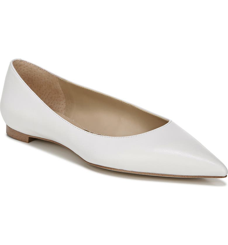 SAM EDELMAN Stacey Pointed Toe Flat, Main, color, WHITE LEATHER