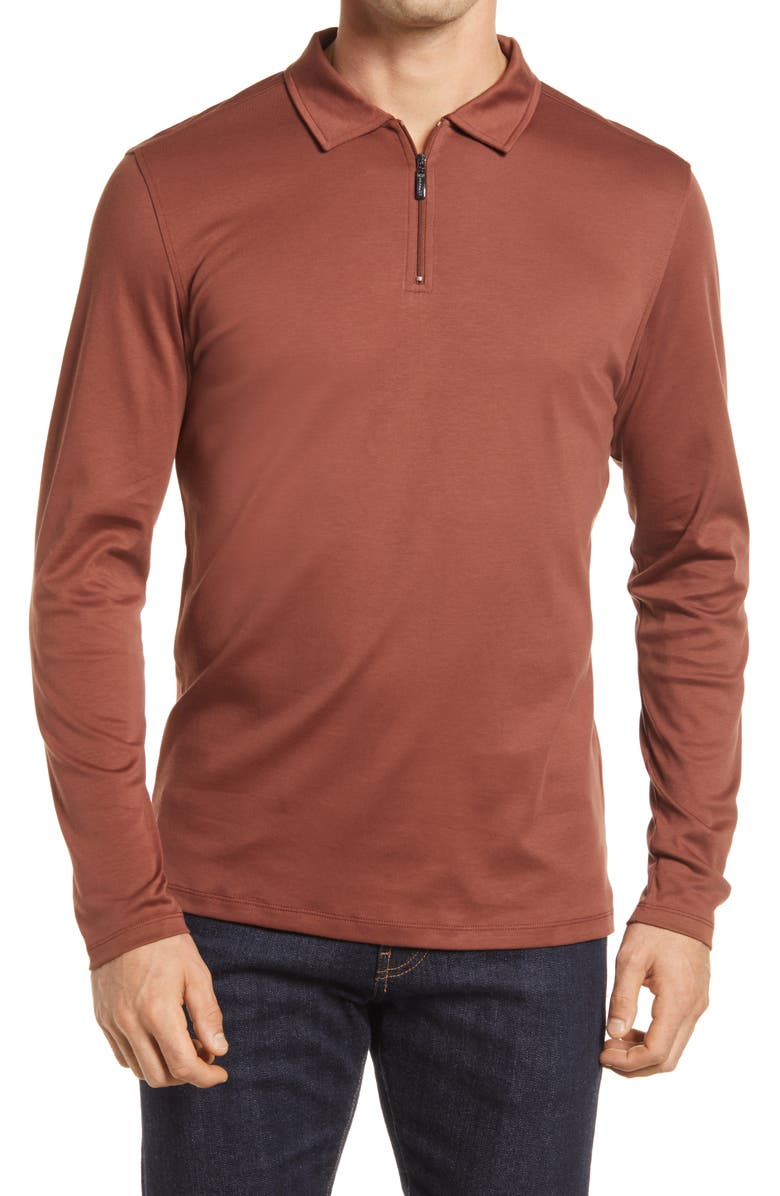 ROBERT BARAKETT Georgia Long Sleeve Zip Polo, Main, color, RUST