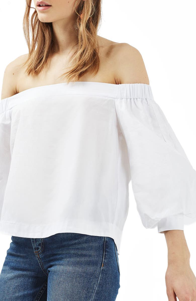 TOPSHOP Puff Sleeve Off the Shoulder Top, Main, color, White