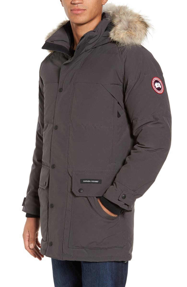 CANADA GOOSE Emory Slim Fit Genuine Coyote Fur Trim Parka, Main, color, GRAPHITE