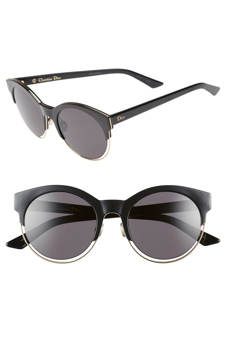 DIOR Siderall 1 53mm Round Sunglasses, Main, color, 001