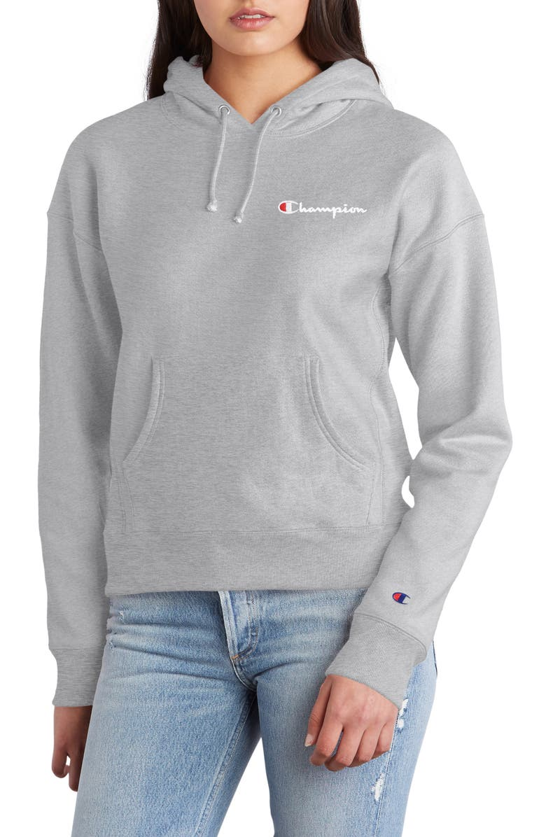 CHAMPION Reverse Weave<sup>®</sup> Logo Drawstring Hoodie, Main, color, OXFORD GREY
