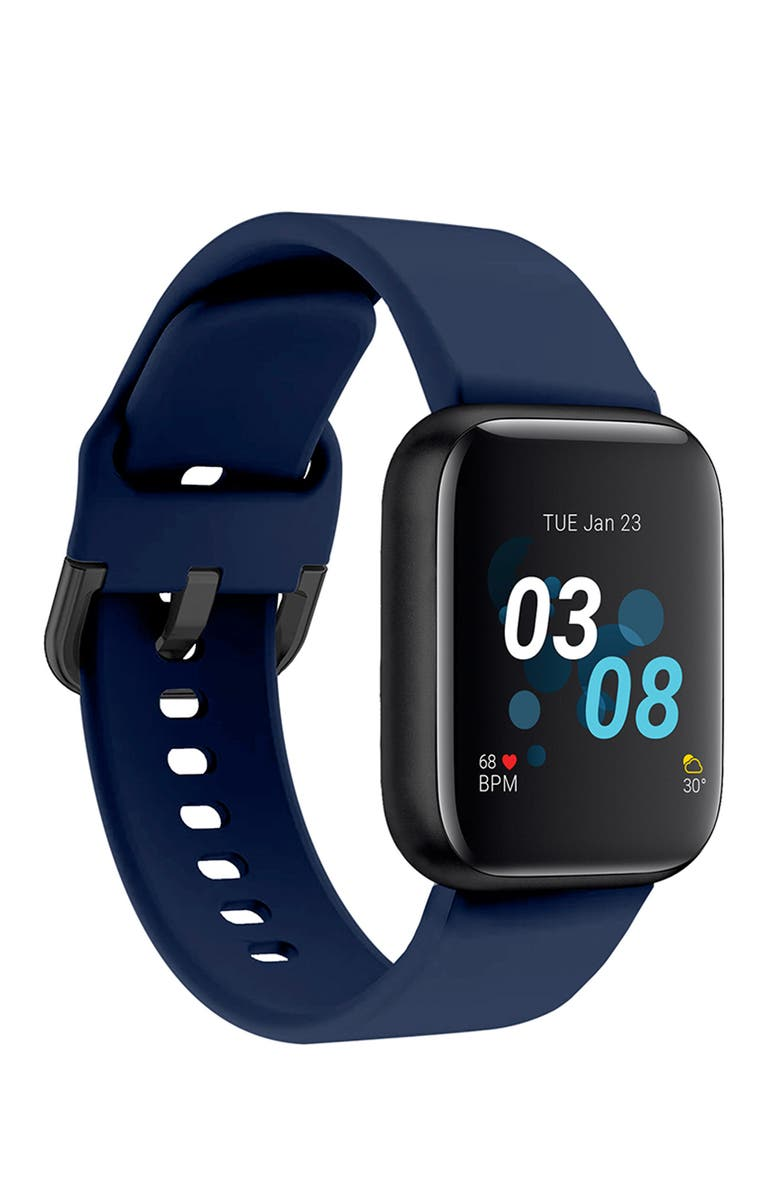 I TOUCH Men's iTouch Air 3 Touchscreen Smartwatch Fitness Tracker: Black Case with Navy Strap, 44mm, Main, color, BLACK/NAVY