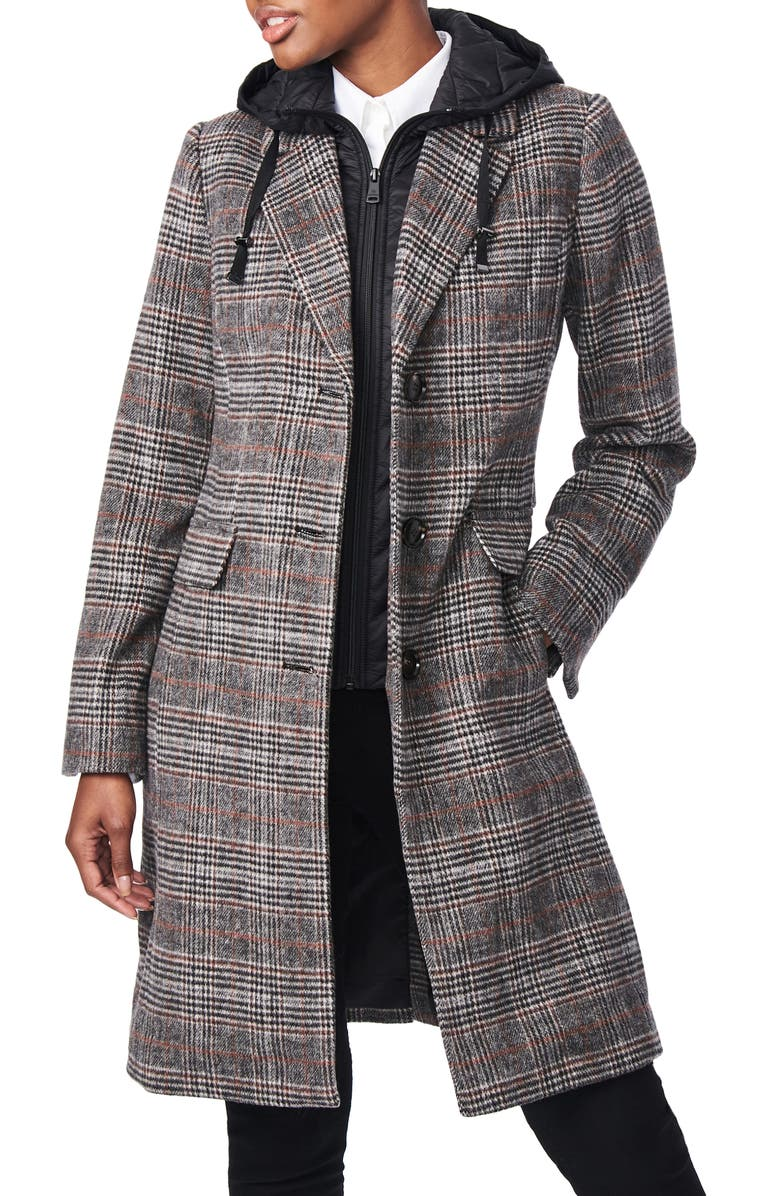 BERNARDO Plaid Wool Blend Coat with Removable Hooded Bib, Main, color, PLAID