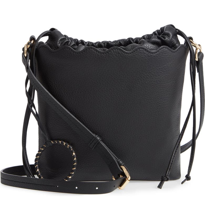 VINCE CAMUTO Wavy Leather Bucket Bag, Main, color, 001
