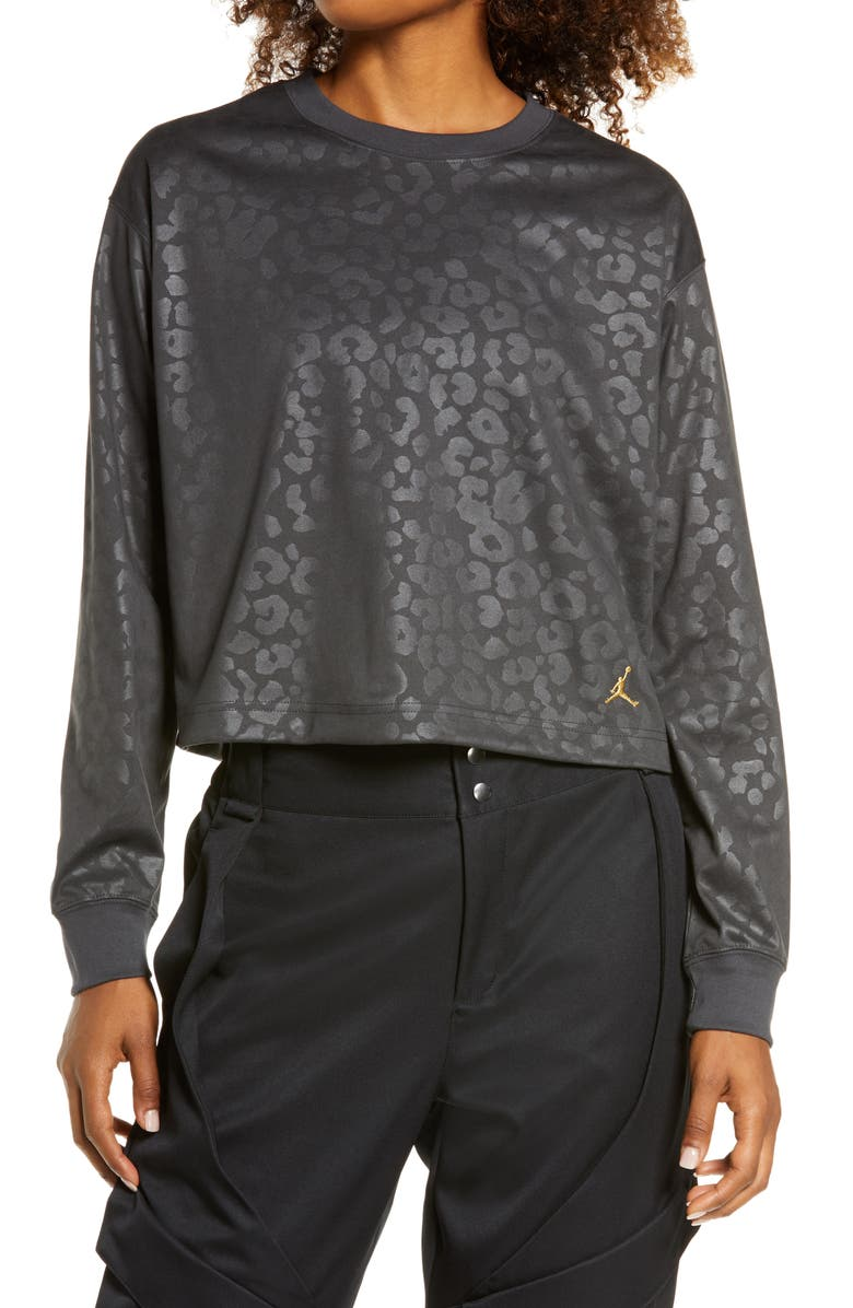 JORDAN Court to Runway Leopard Long Sleeve Top, Main, color, DARK SMOKE GREY/ GOLD