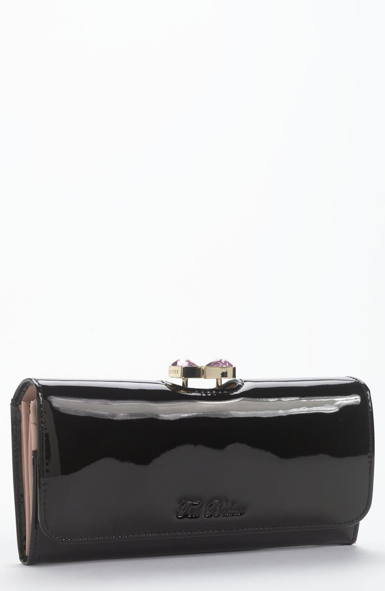 TED BAKER LONDON 'Crystal Bow Frame' Matinee Wallet, Main, color, 001