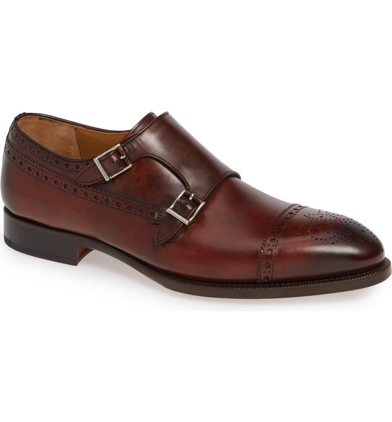 MAGNANNI Valda Double Strap Cap Toe Monk Shoe, Main, color, TOBACCO BROWN LEATHER