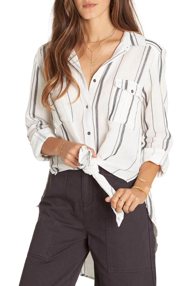 BILLABONG Meadow Swing Tie Front Shirt, Main, color, WHITE/ BLACK