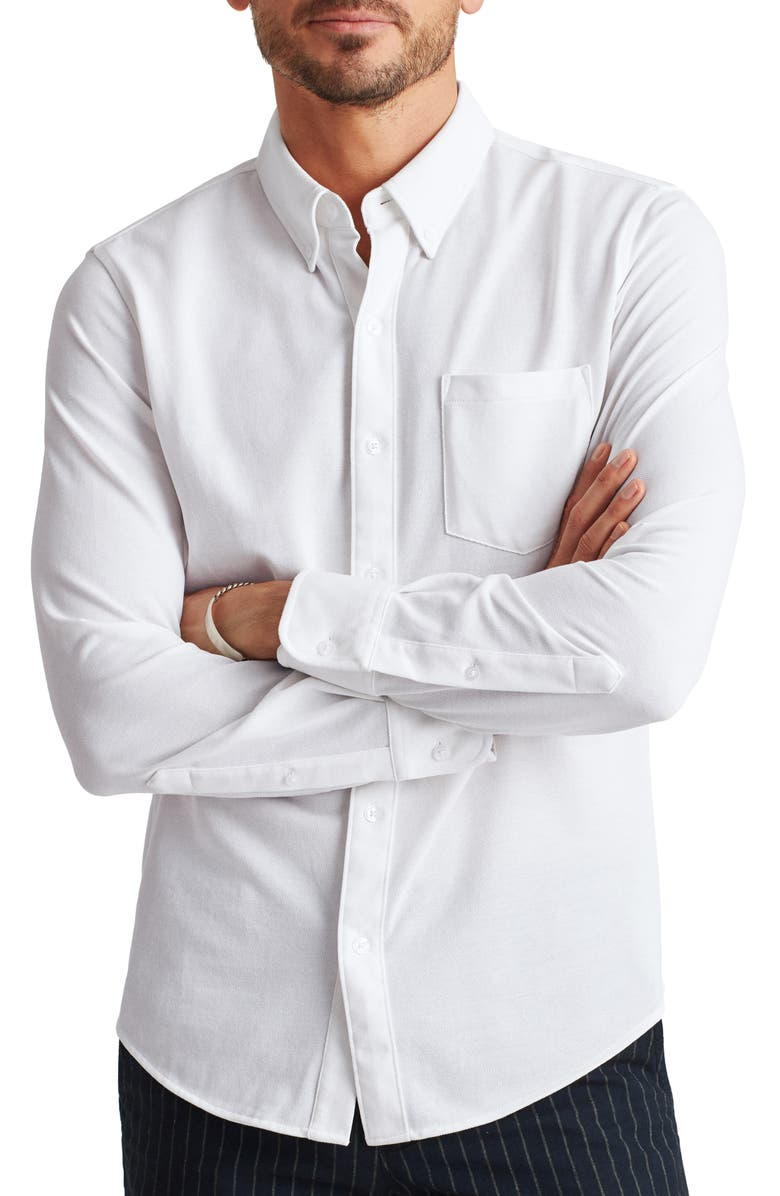 BONOBOS Slim Fit Knit Button-Down Shirt, Main, color, WHITE