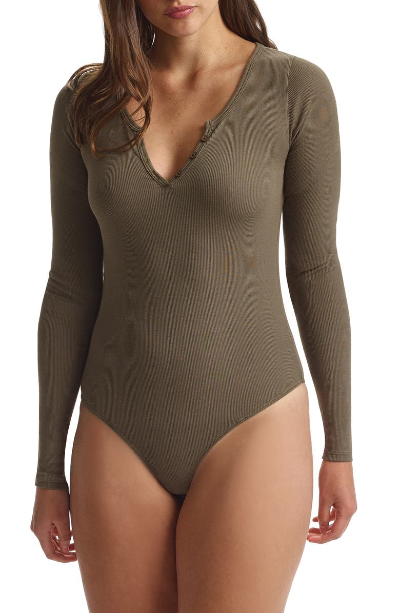 COMMANDO Long Sleeve Rib Bodysuit, Main, color, MOSS