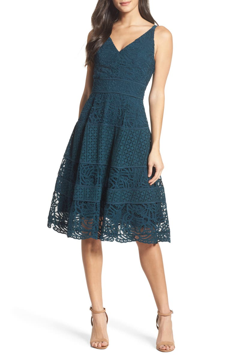 ADELYN RAE Fit & Flare Midi Dress, Main, color, 441