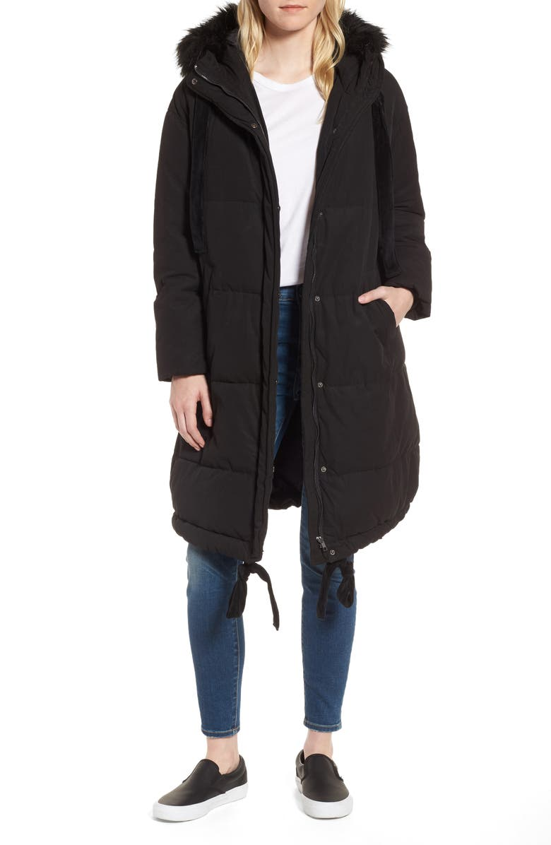 LOST INK Quilted Swing Coat with Faux Fur Trim, Main, color, 001