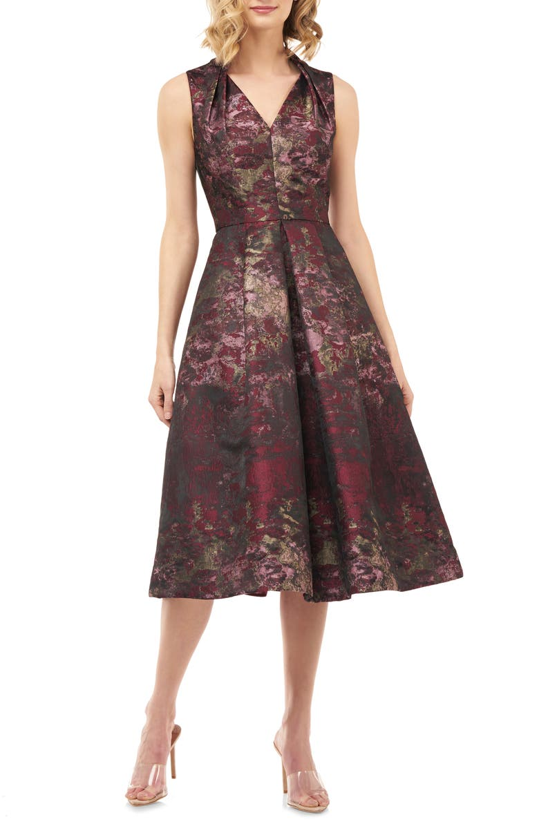 KAY UNGER Lolita Abstract Jacquard Cocktail Dress, Main, color, 930