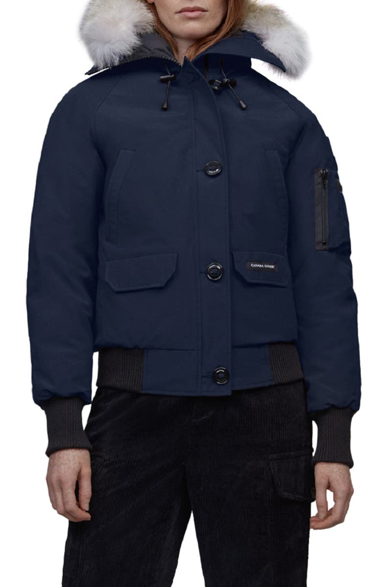 CANADA GOOSE Chilliwack Hooded Down Bomber Jacket with Genuine Coyote Fur Trim, Main, color, ATLANTIC NAVY