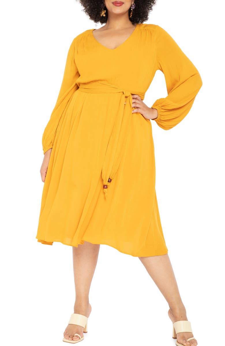 ELOQUII Long Sleeve Belted Dress, Main, color, 700