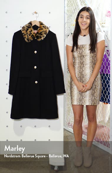 faux fur collar wool blend coat, sales video thumbnail