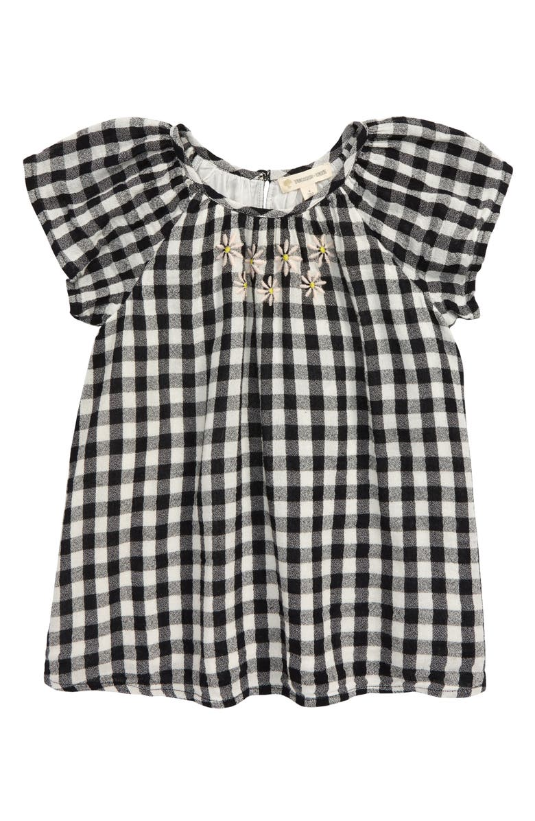 TUCKER + TATE Embroidered Gingham Check Top, Main, color, 001