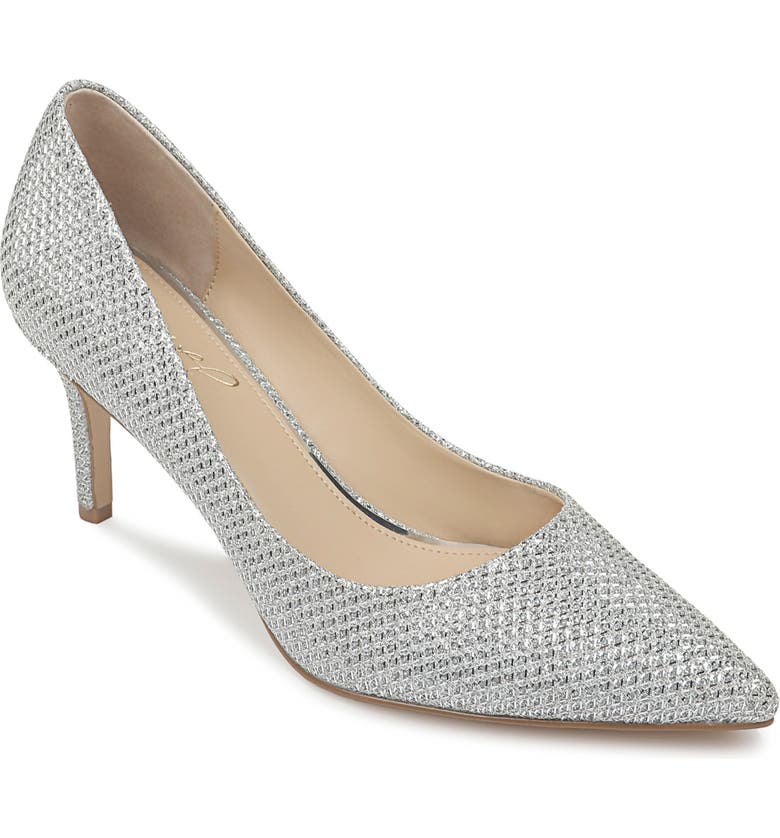JEWEL BADGLEY MISCHKA Rudy Pointed Toe Pump, Main, color, SILVER GLITTER