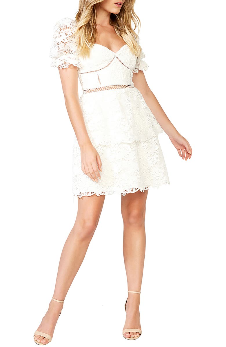 BARDOT Lace Minidress, Main, color, IVORY