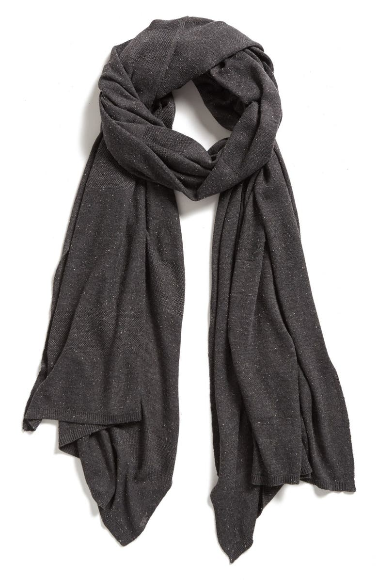 HALOGEN<SUP>®</SUP> Textured Stripe Travel Wrap, Main, color, HEATHER CHARCOAL