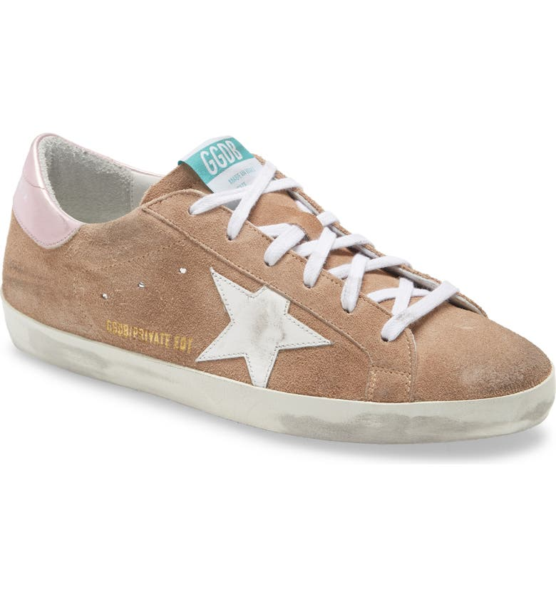 GOLDEN GOOSE Super-Star Low Top Suede Sneaker, Main, color, DARK BEIGE/ WHITE/ SALMON