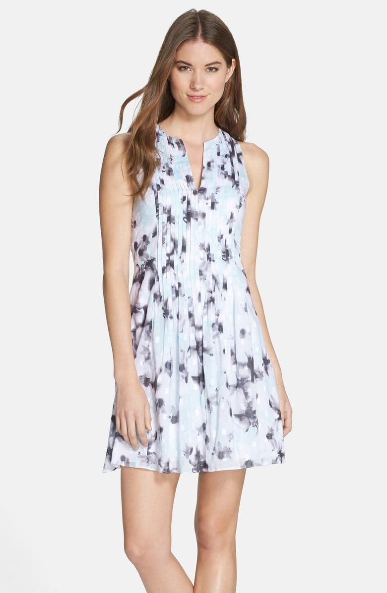 CECE by Cynthia Steffe 'Wellesley' Print Pleated Fit & Flare Dress, Main, color, AQUA SURF