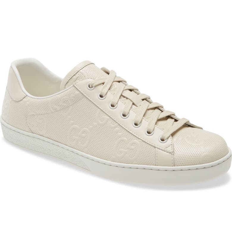 GUCCI New Ace Logo Low Top Sneaker, Main, color, OFF WHITE