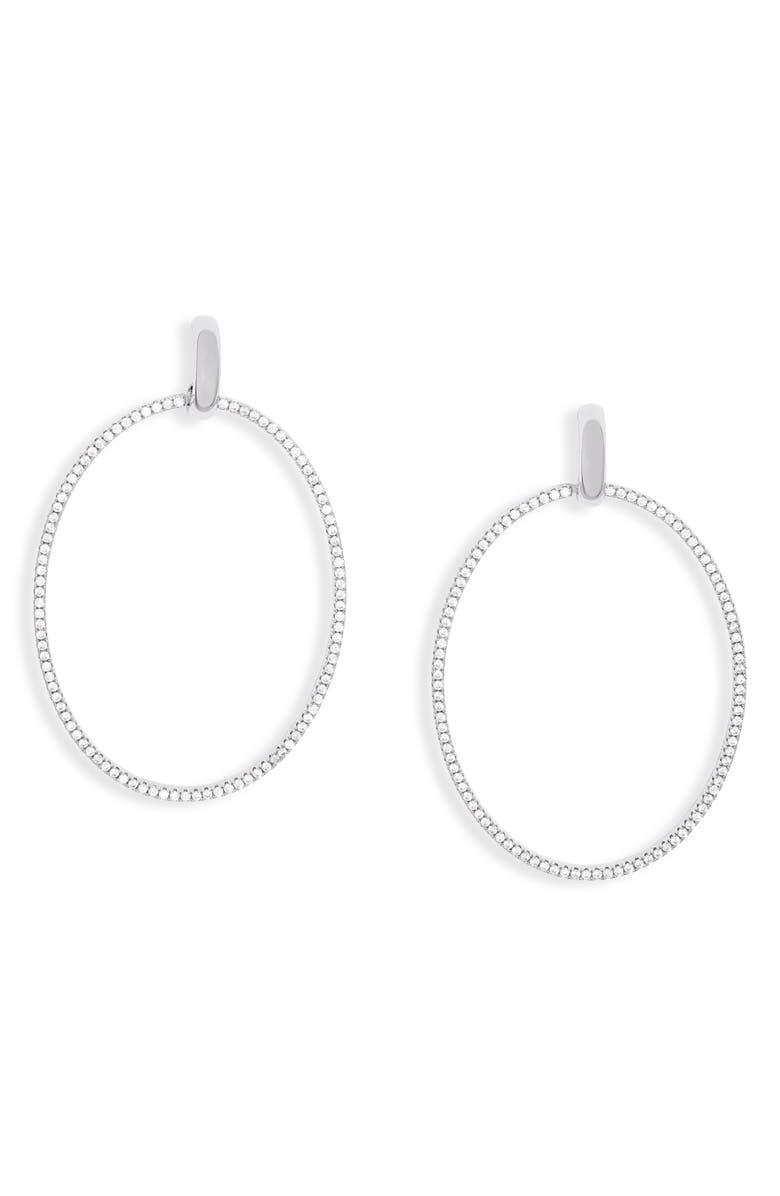 NORDSTROM Oval Pavé Front Hoops, Main, color, CLEAR- SILVER