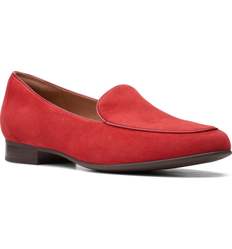 CLARKS<SUP>®</SUP> Blush Ease Flat, Main, color, RED SUEDE
