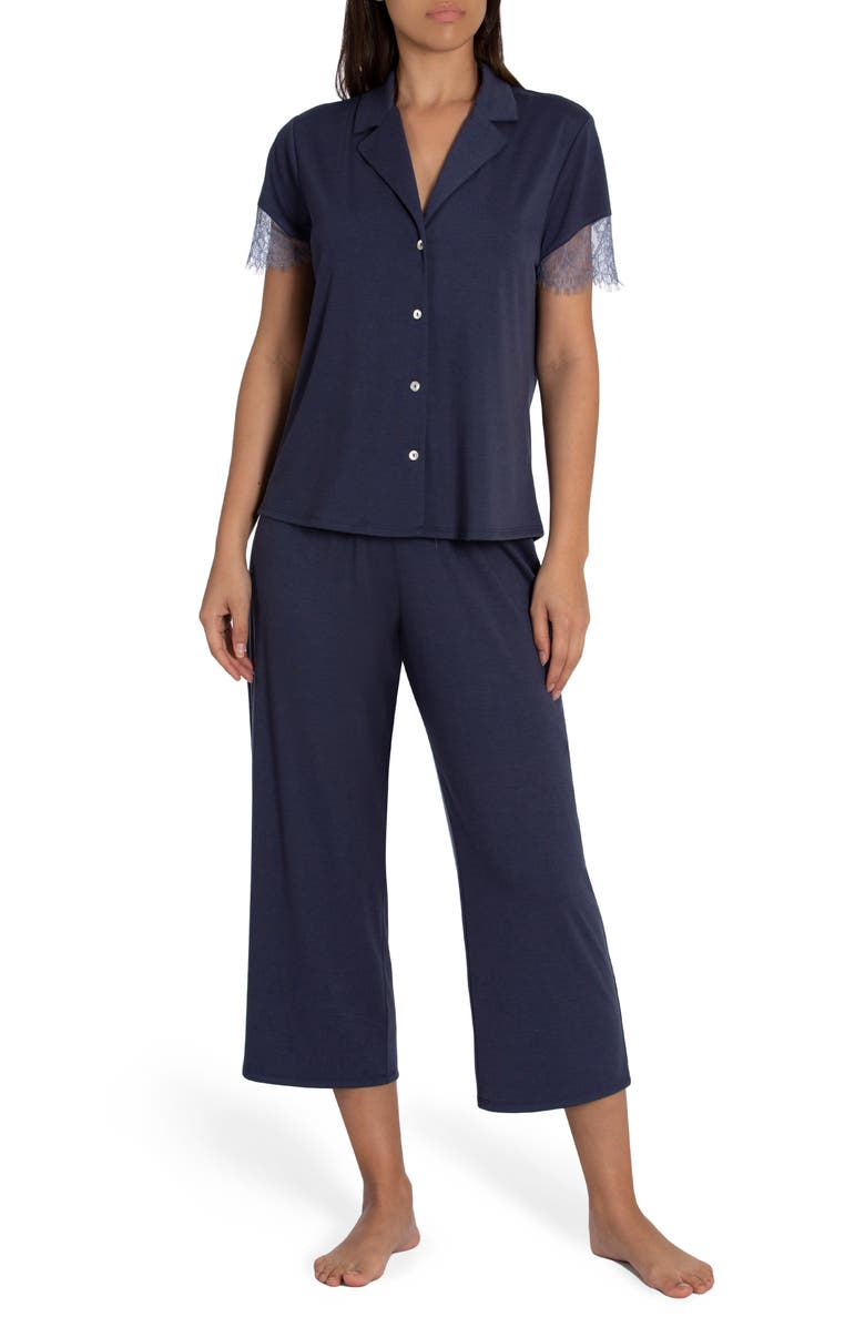 MIDNIGHT BAKERY Camille Lace Trim Pajamas, Main, color, BLUE