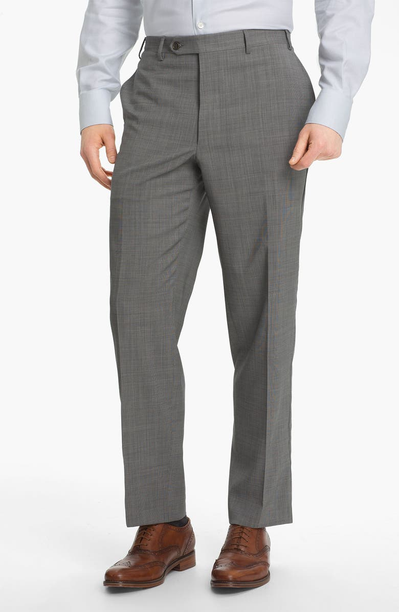 CANALI Flat Front Wool Trousers, Main, color, LIGHT GREY