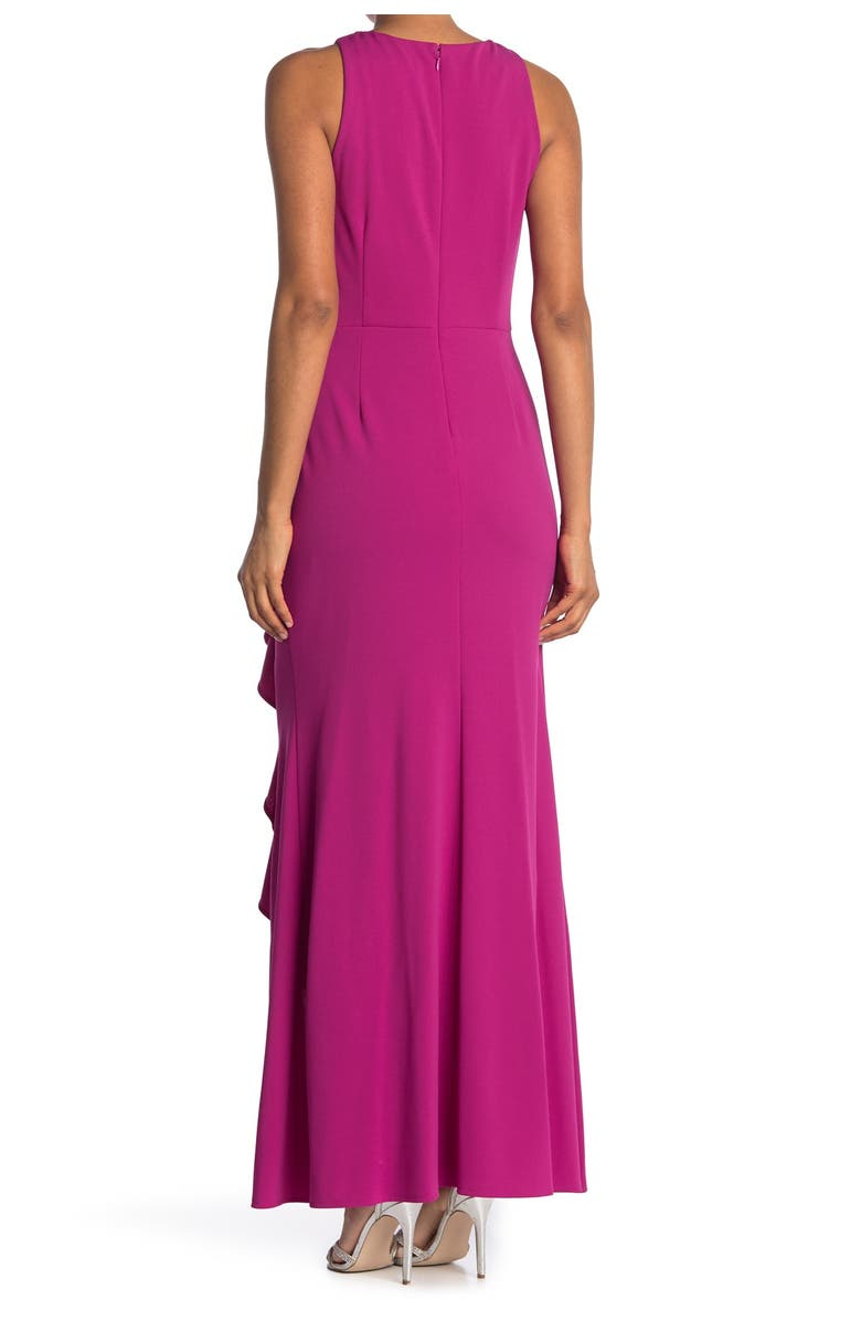 IGNITE Embellished Ruched Waist Sleeveless Gown, Main, color, FUCHSIA
