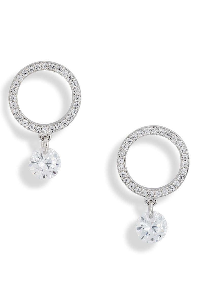 NORDSTROM Open Circle Drop Earrings, Main, color, CLEAR- SILVER