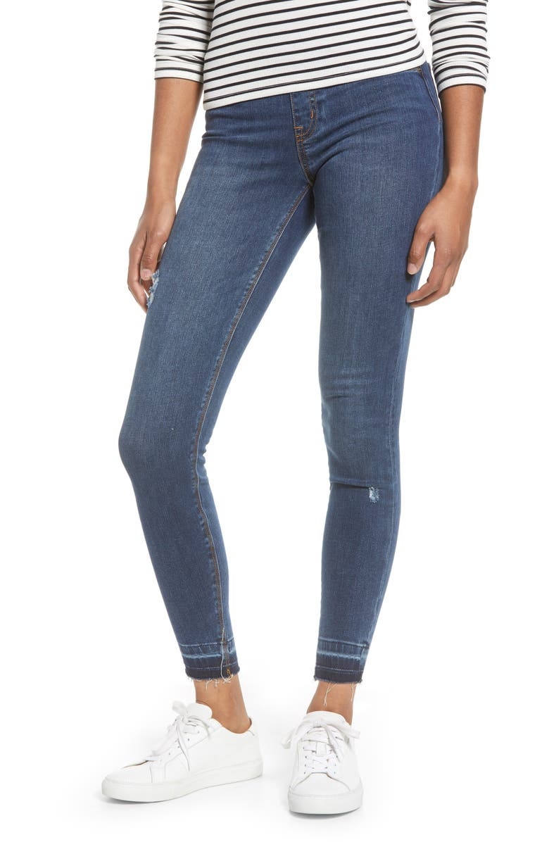 SPANX<SUP>®</SUP> Distressed High Waist Ankle Denim Leggings, Main, color, MEDIUM WASH
