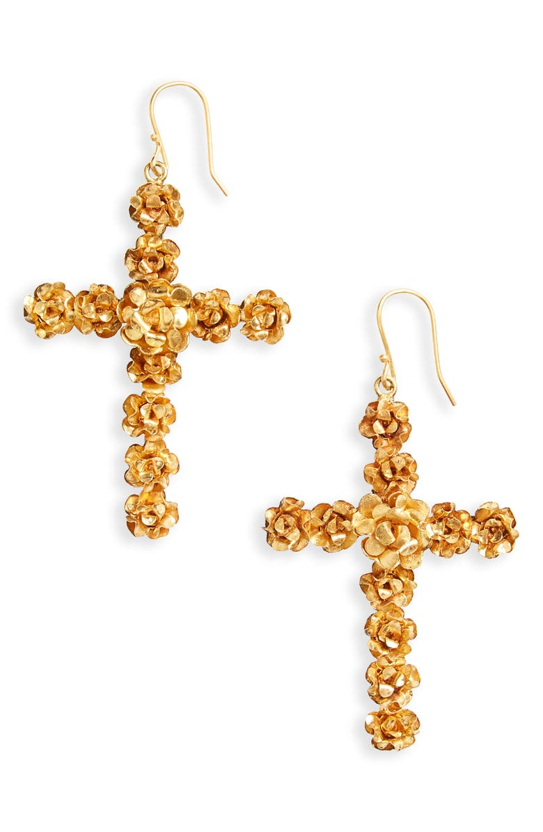VIRGINS SAINTS & ANGELS Rose Cross Drop Earrings, Main, color, 710