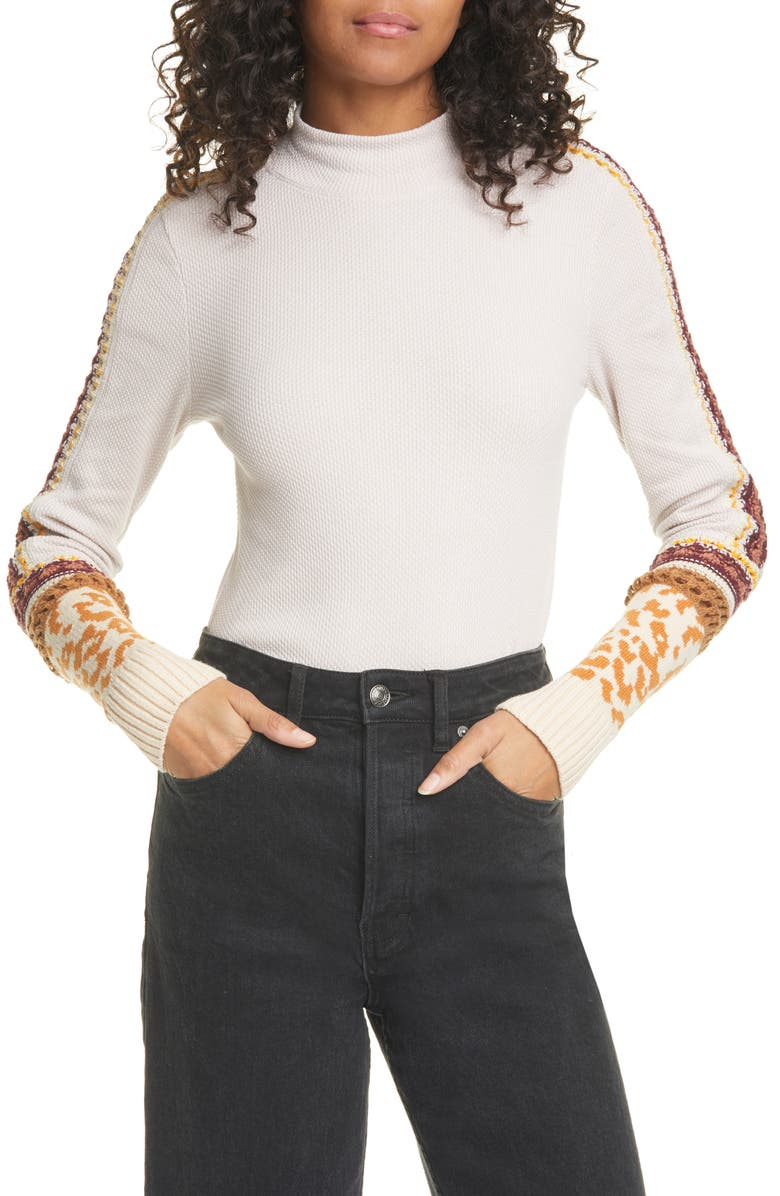 FREE PEOPLE Switch it Up Thermal Top, Main, color, SAND COMBO