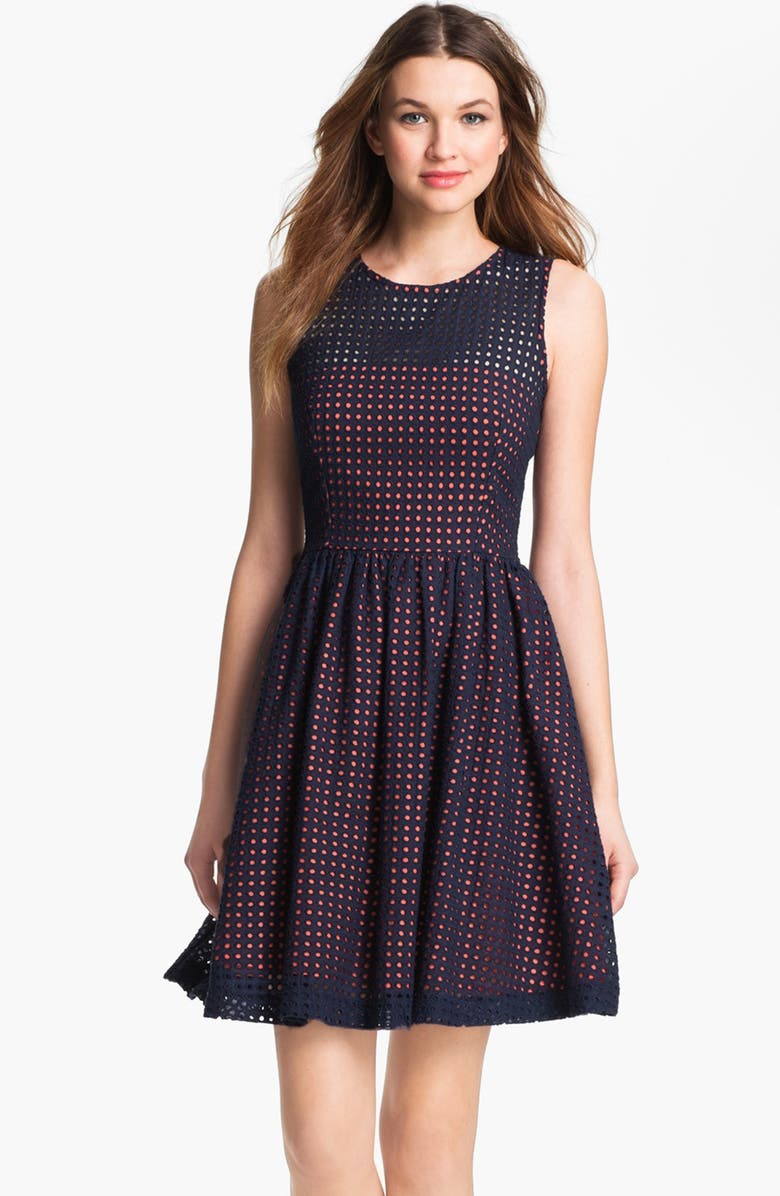 FRENCH CONNECTION Embroidered Cotton Eyelet Fit & Flare Dress, Main, color, NOCTURNAL