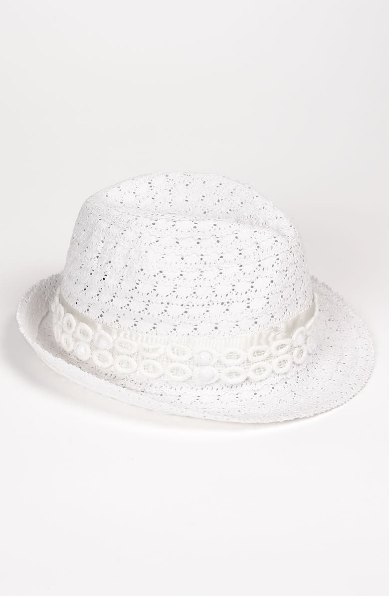 LAUNDRY BY SHELLI SEGAL 'Marissa' Coiled Lace Fedora, Main, color, 100