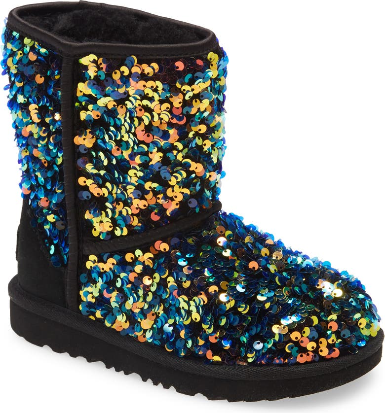 UGG<SUP>®</SUP> Classic II Stellar Sequin Boots, Main, color, BLACK