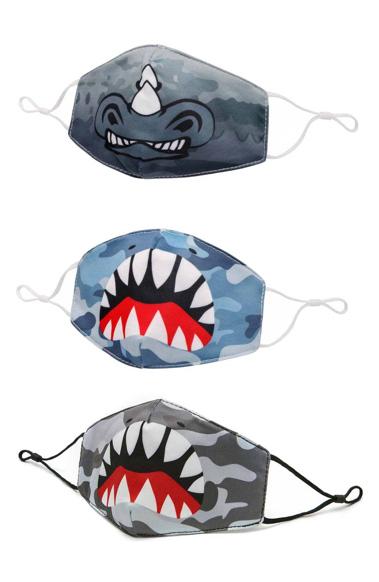 OMG ACCESSORIES 3-Pack Animal Camo Print Face Masks, Main, color, Blue