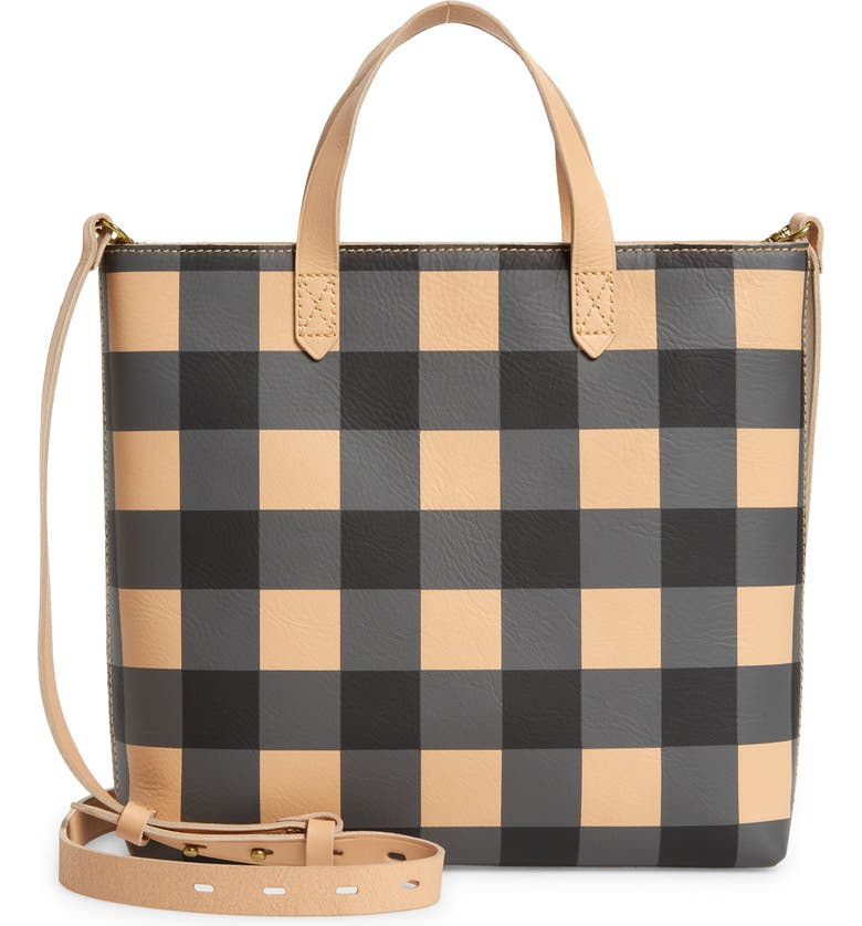 MADEWELL Small Transport Leather Crossbody Tote, Main, color, TRUE BLACK MULTI