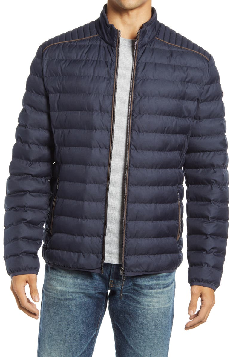 BRAX Craig Water Repellent Quilted Jacket, Main, color, NAVY