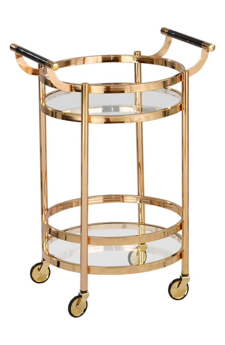 AMERICAN ATELIER Small Round Wheeled Bar Cart, Main, color, 710