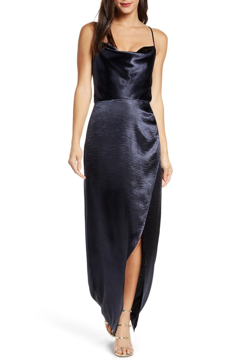 WAYF The Molly Cowl Neck Rumpled Satin Gown, Main, color, 400