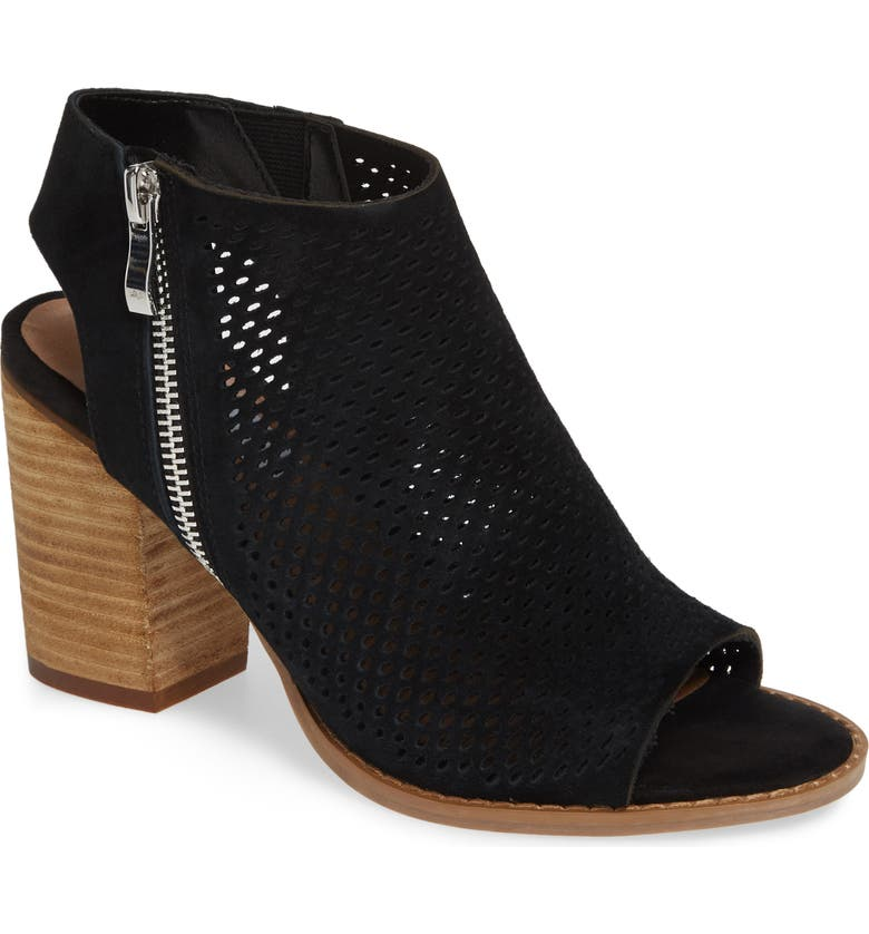 STEVE MADDEN Abigail Perforated Bootie, Main, color, BLACK SUEDE
